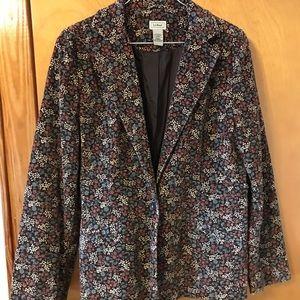 L.L. Bean Corduroy Mini Print Blazer Size 14 reg